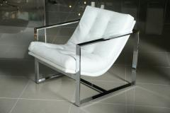 Milo Baughman Pair of Milo Baughman Chrome White Leather Cube Chairs - 83409