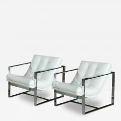 Milo Baughman Pair of Milo Baughman Chrome White Leather Cube Chairs - 84814
