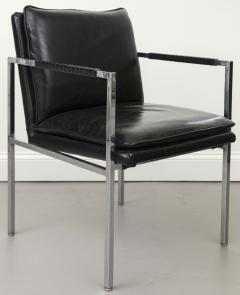 Milo Baughman Pair Of Milo Baughman Chrome And Black Leather Chairs   539188