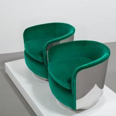 Milo Baughman Pair of Milo Baughman Steel Wrapped Swivel Chairs 1970s - 623198
