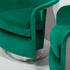 Milo Baughman Pair of Milo Baughman Steel Wrapped Swivel Chairs 1970s - 623200