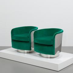 Milo Baughman Pair of Milo Baughman Steel Wrapped Swivel Chairs 1970s - 623201