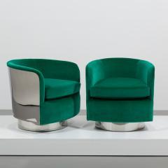 Milo Baughman Pair of Milo Baughman Steel Wrapped Swivel Chairs 1970s - 623202
