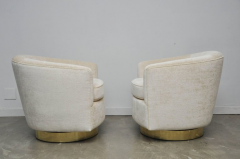 Milo Baughman Pair of Milo Baughman Swivel Chairs on Brass Bases - 643046