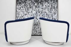 Milo Baughman Pair of Milo Baughman Tilt Swivel Lounge Chairs in Blue W White Lacquer - 1467141