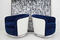 Milo Baughman Pair of Milo Baughman Tilt Swivel Lounge Chairs in Blue W White Lacquer - 1467142