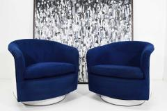 Milo Baughman Pair of Milo Baughman Tilt Swivel Lounge Chairs in Blue W White Lacquer - 1467144