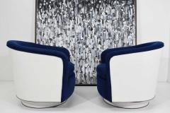 Milo Baughman Pair of Milo Baughman Tilt Swivel Lounge Chairs in Blue W White Lacquer - 1467145