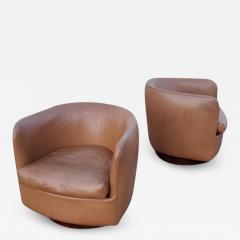 Milo Baughman Pair of Milo Baughman for Thayer Coggin Tilt Swivel Lounge Chairs - 1704649