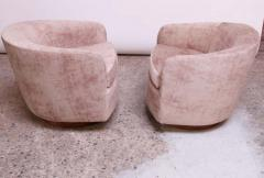 Milo Baughman Pair of Milo Baughman for Thayer Coggin Walnut and Suede Swivel Chairs - 1644748