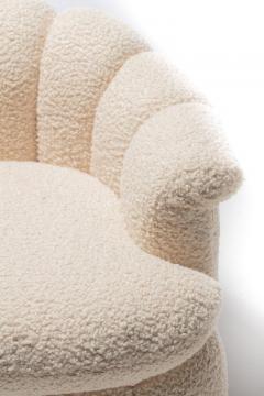 Milo Baughman Post Modern Ivory White Boucl Clam Shell Swivel Lounge Chairs - 2101336