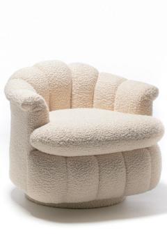Milo Baughman Post Modern Ivory White Boucl Clam Shell Swivel Lounge Chairs - 2101338