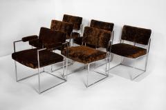 Milo Baughman Set of 6 Milo Baughman Dining Chairs for Thayer Coggin 1960s Chrome and Velvet - 1826178