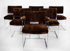 Milo Baughman Set of 6 Milo Baughman Dining Chairs for Thayer Coggin 1960s Chrome and Velvet - 1826181