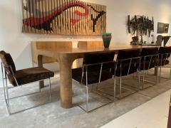 Milo Baughman Set of 6 Milo Baughman Dining Chairs for Thayer Coggin 1960s Chrome and Velvet - 1826182