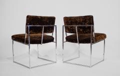 Milo Baughman Set of 6 Milo Baughman Dining Chairs for Thayer Coggin 1960s Chrome and Velvet - 1826184