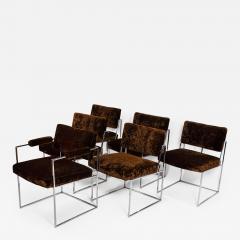 Milo Baughman Set of 6 Milo Baughman Dining Chairs for Thayer Coggin 1960s Chrome and Velvet - 1827115