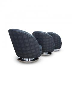 Milo Baughman Set of Three Milo Baughman Tilt and Swivel Lounge Chairs Chrome Bases - 1703757