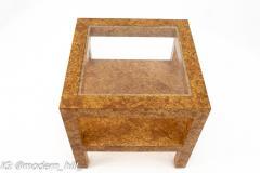 Milo Baughman Style Mid Century Burlwood Formica and Glass Coffee Table - 1869140