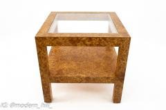 Milo Baughman Style Mid Century Burlwood Formica and Glass Coffee Table - 1869141