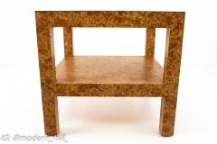 Milo Baughman Style Mid Century Burlwood Formica and Glass Coffee Table - 1869142