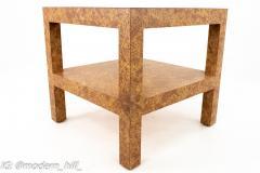 Milo Baughman Style Mid Century Burlwood Formica and Glass Coffee Table - 1869143