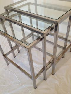 Milo baughman style polished chrome glass top nesting tables milo baughman style polished chrome glass top nesting tables 88498 watchthetrailerfo