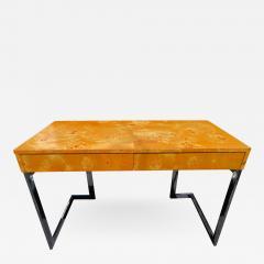 Milo Baughman Wonderful Milo Baughman Olivewood Chrome Desk Mid Century Modern - 1031229
