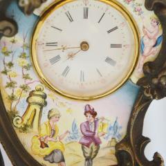 Miniature Austrian Enamel Sterling Silver Bronze Desk Clock - 2110776