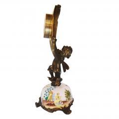 Miniature Austrian Enamel Sterling Silver Bronze Desk Clock - 2110777
