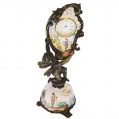Miniature Austrian Enamel Sterling Silver Bronze Desk Clock - 2110778