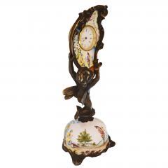 Miniature Austrian Enamel Sterling Silver Bronze Desk Clock - 2110782