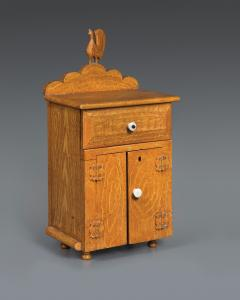 Miniature Grain Painted Cupboard with Carved Rooster Ornament - 362415