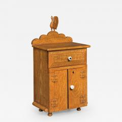 Miniature Grain Painted Cupboard with Carved Rooster Ornament - 363103