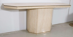 Minimalist Travertine Console Table With Brass Edging in Style of Willy Rizzo - 1026991