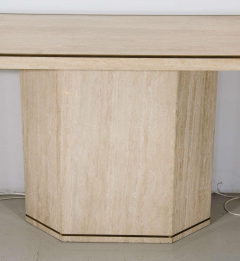 Minimalist Travertine Console Table With Brass Edging in Style of Willy Rizzo - 1026992