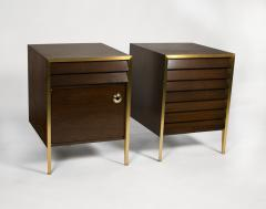 Minoru Yamasaki 1960s Italian Walnut Architectural Bronze Bedroom Cabinets Nightstands - 1527810