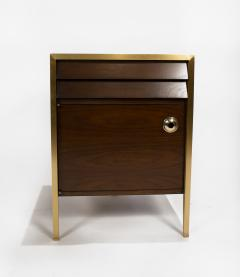 Minoru Yamasaki 1960s Italian Walnut Architectural Bronze Bedroom Cabinets Nightstands - 1527811