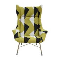 Miroslav Navratil Miroslav Navratil Black Lacquered Steel And Cotton ArmChair Czechoslovakia 60s - 868844