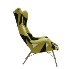 Miroslav Navratil Miroslav Navratil Black Lacquered Steel And Cotton ArmChair Czechoslovakia 60s - 868845