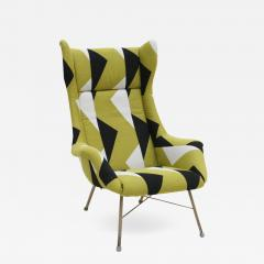 Miroslav Navratil Miroslav Navratil Black Lacquered Steel And Cotton ArmChair Czechoslovakia 60s - 870376