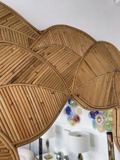 Mirror Rattan Palm Tree Braided Leaf France 1980s - 2006171