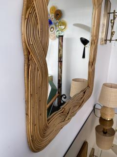 Mirror Rattan Palm Tree Braided Leaf France 1980s - 2006172