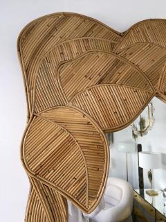 Mirror Rattan Palm Tree Braided Leaf France 1980s - 2006174