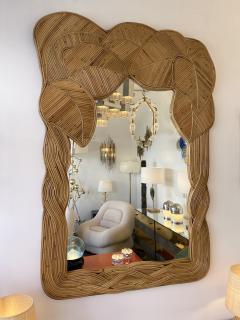 Mirror Rattan Palm Tree Braided Leaf France 1980s - 2006175