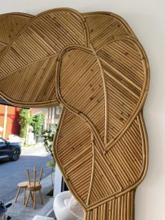 Mirror Rattan Palm Tree Braided Leaf France 1980s - 2006176