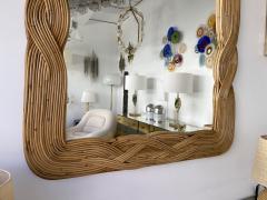 Mirror Rattan Palm Tree Braided Leaf France 1980s - 2006177