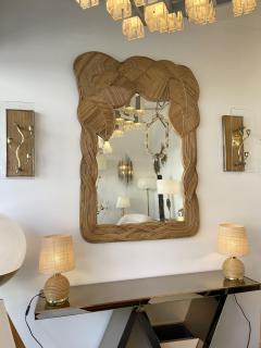 Mirror Rattan Palm Tree Braided Leaf France 1980s - 2006180