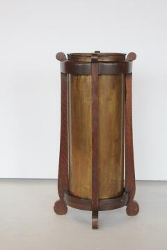 Mission Oak and Brass Umbrella Stand by the Lakeside Craft Shops - 1368727