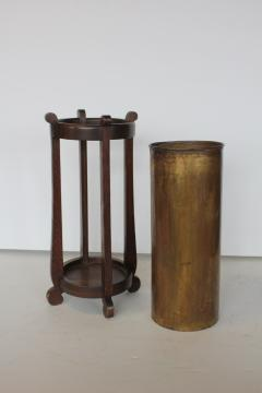 Mission Oak and Brass Umbrella Stand by the Lakeside Craft Shops - 1368729